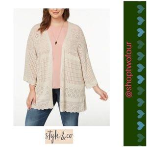 Style & Co Plus Size Pointelle Bell-Sleeve Kimono